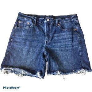 "Gap Raw Hem 5"" Denim Shorts Dark Indigo Size 8"